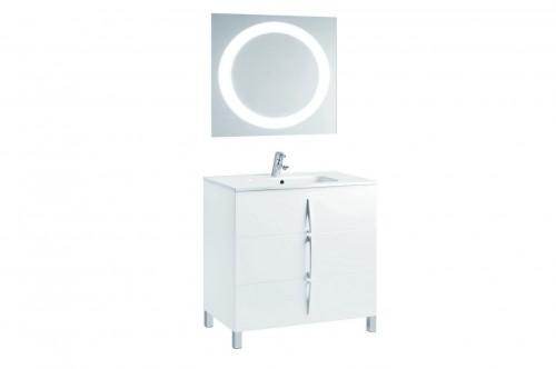 Mobilier alb 80 cm CUARZO 3C cu lavoar Smile si oglinda rotunda GALA - Poza 4