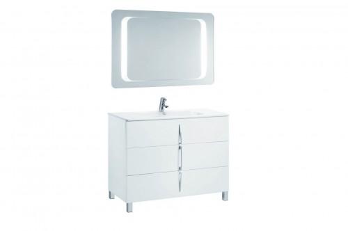 Mobilier alb 100 cm CUARZO 3C cu lavoar Emma si oglinda cu lumina rectangulara GALA - Poza 6