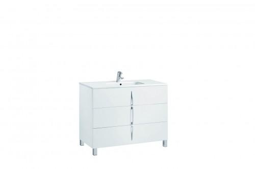 Mobilier alb 100 cm CUARZO 3C cu lavoar Smile GALA - Poza 7