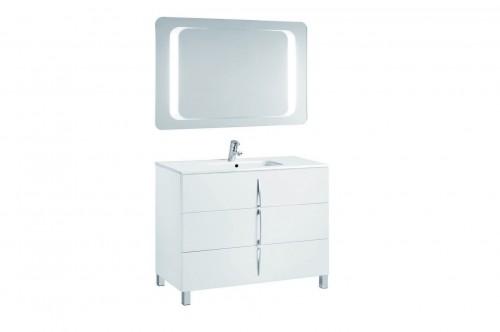 Mobilier alb 100 cm CUARZO 3C cu lavoar Smile si oglinda cu lumina rectangulara GALA - Poza 8