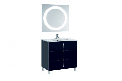 Mobilier negru 80 cm CUARZO 3C cu lavoar Smile si oglinda cu lumina rotunda GALA - Poza 12