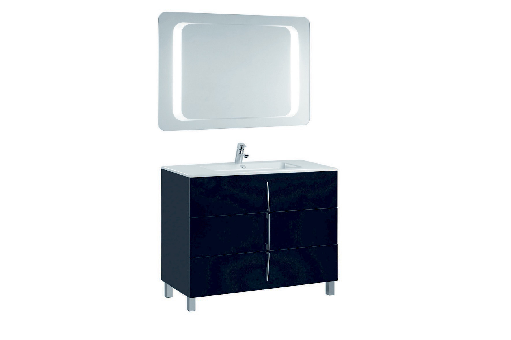 Mobilier negru 100 cm CUARZO 3C cu lavoar Emma si oglinda cu lumina rectangulara GALA - Poza 14