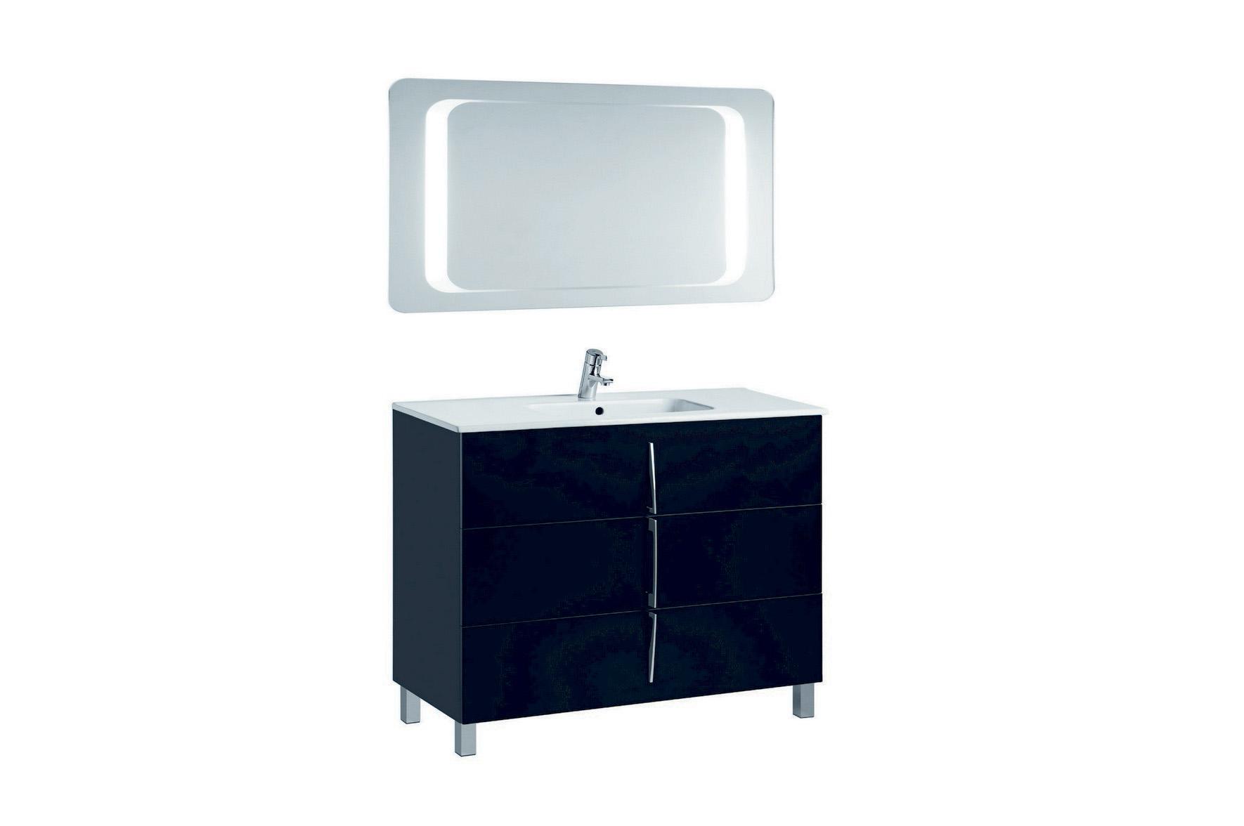 Mobilier negru 100 cm CUARZO 3C cu lavoar Smile si oglinda cu lumina rectangulara GALA - Poza 16