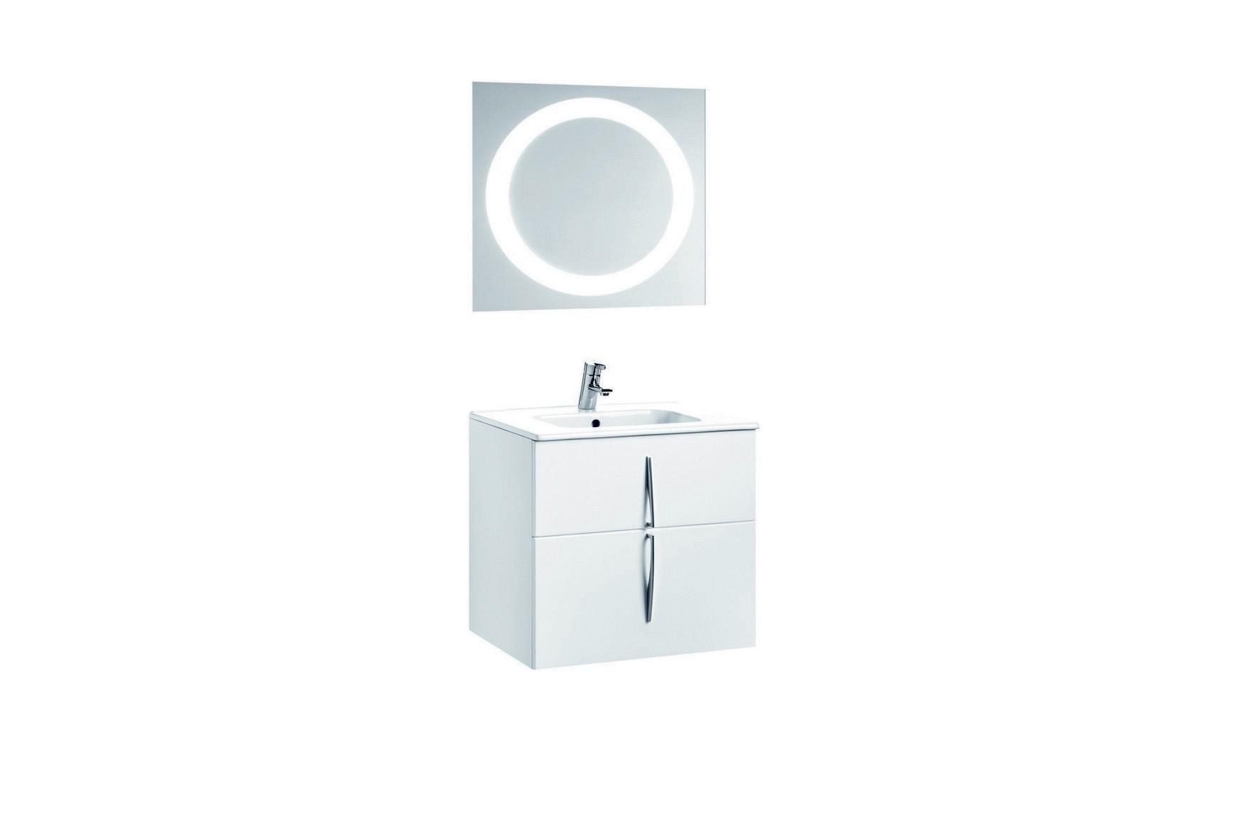 Mobilier 60 cm CUARZO 2C alb cu lavoar Smile si oglinda cu lumina rotunda GALA - Poza 4