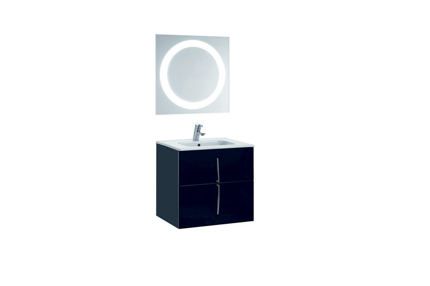 Mobilier 60 cm CUARZO 2C negru cu lavoar Smile si oglinda cu lumina rotunda GALA - Poza 6