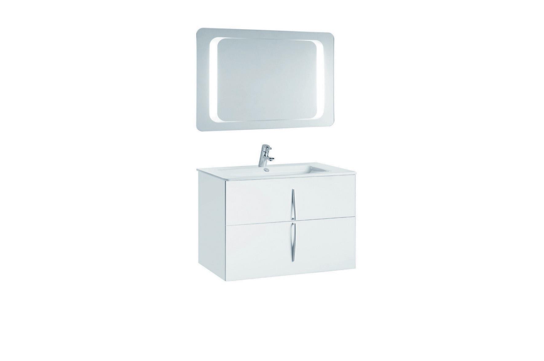 Mobilier 80 cm CUARZO 2C alb cu lavoar Emma si oglinda cu lumina rectangulara GALA - Poza 8