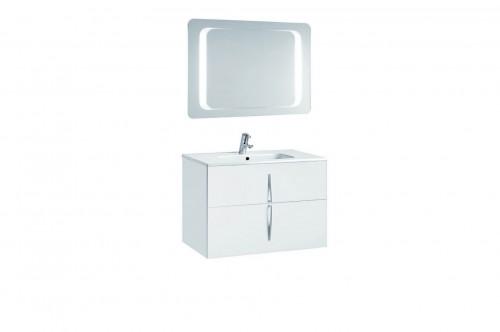Mobilier 80 cm CUARZO 2C alb cu lavoar Smile si oglinda cu lumina rectangulara GALA - Poza 10