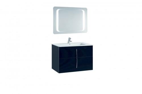 Mobilier 80 cm CUARZO 2C negru cu lavoar Emma si oglinda cu lumina rectangulara GALA - Poza 12