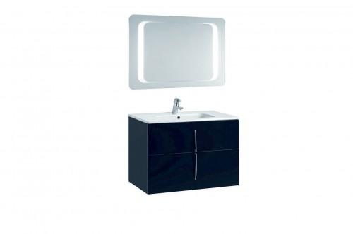 Mobilier 80 cm CUARZO 2C negru cu lavoar Smile si oglinda cu lumina rectangulara GALA - Poza 14
