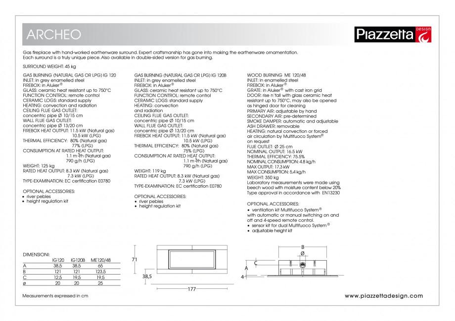 Pagina 2 - Semineu design Piazzetta Archeo Fisa tehnica Engleza