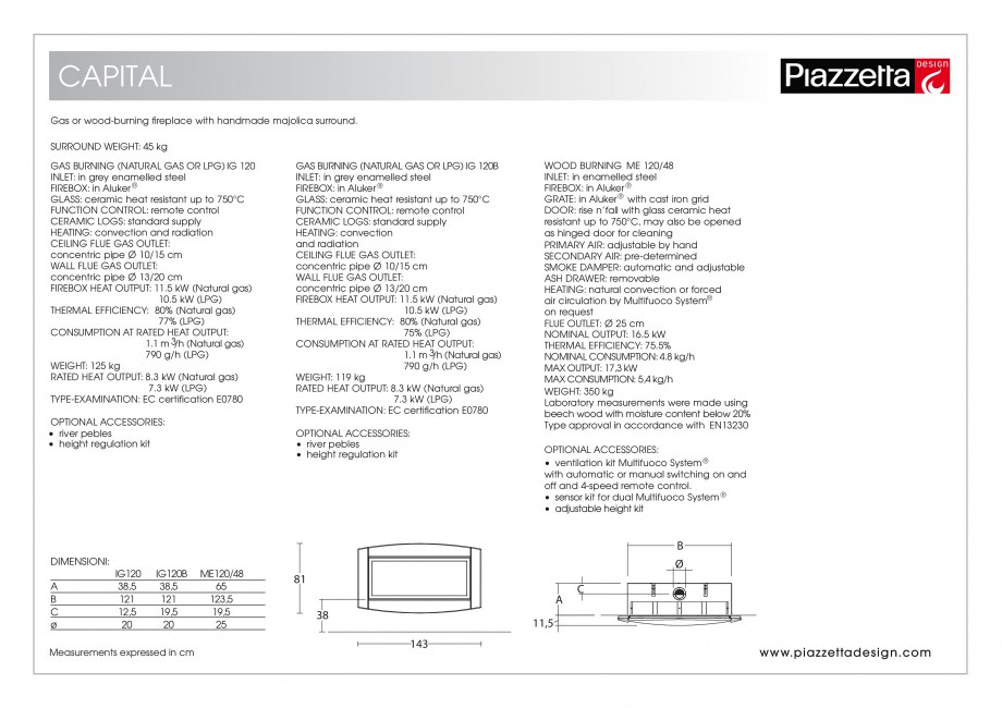 Pagina 2 - Semineu design Piazzetta Capital Fisa tehnica Engleza ion and radiation CEILING FLUE GAS ...