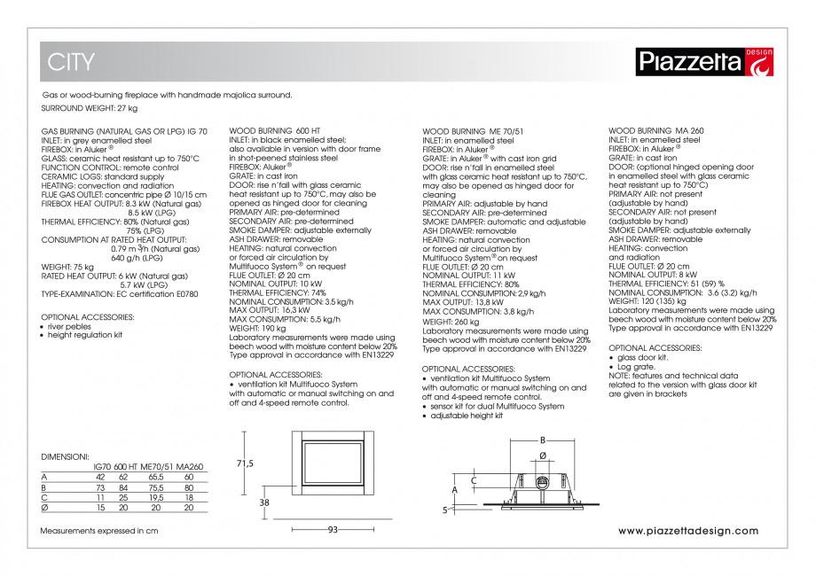 Pagina 2 - Semineu design Piazzetta City Fisa tehnica Engleza