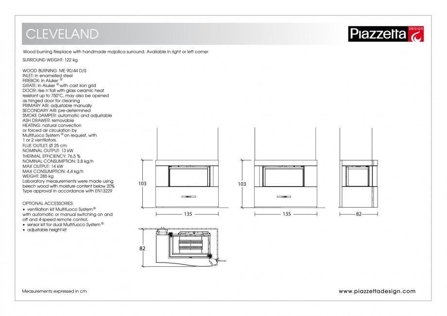 Pagina 2 - Semineu design Piazzetta Cleveland Fisa tehnica Engleza