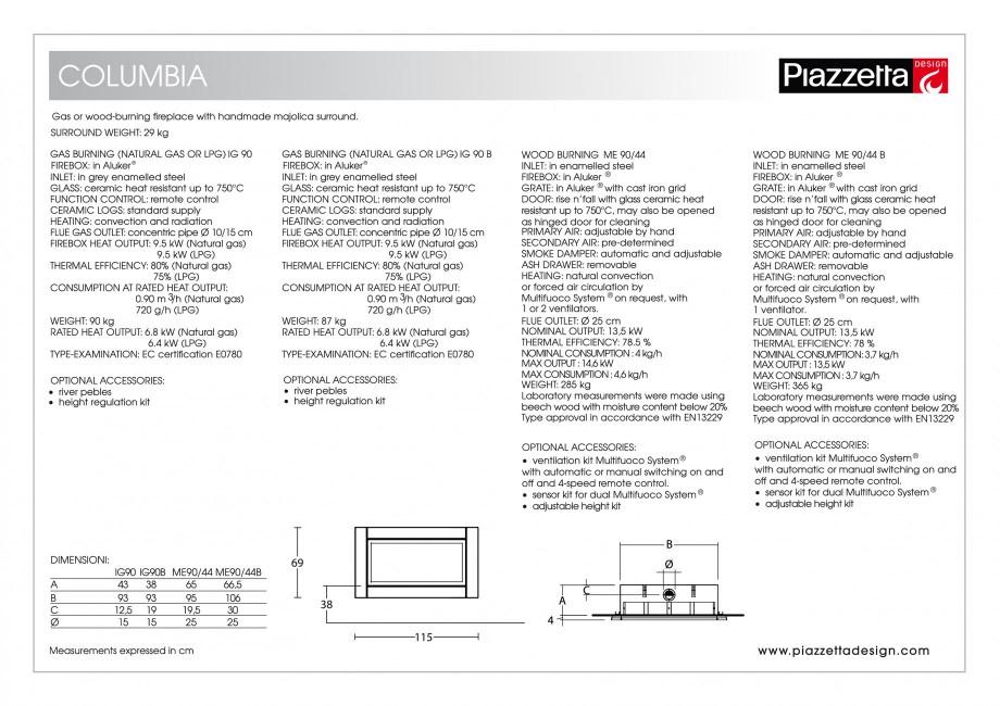 Pagina 2 - Semineu design Piazzetta Columbia Fisa tehnica Engleza