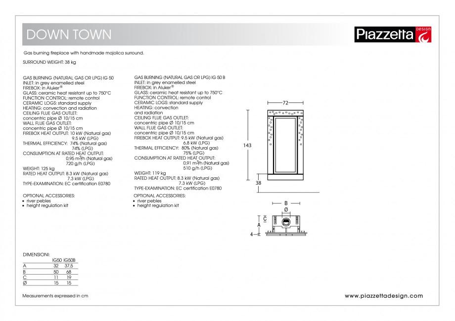 Pagina 2 - Semineu design Piazzetta Down Town Fisa tehnica Engleza