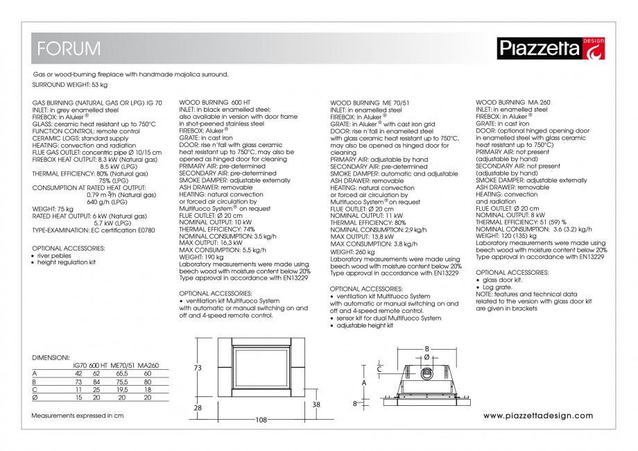 Pagina 2 - Semineu design Piazzetta Forum Fisa tehnica Engleza