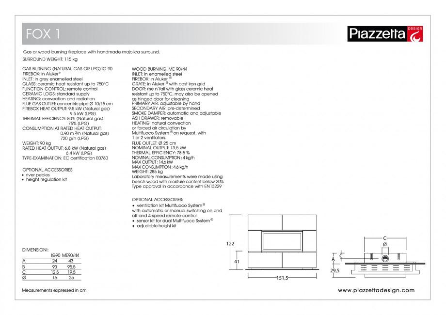 Pagina 2 - Semineu design Piazzetta Fox 1 Fisa tehnica Engleza