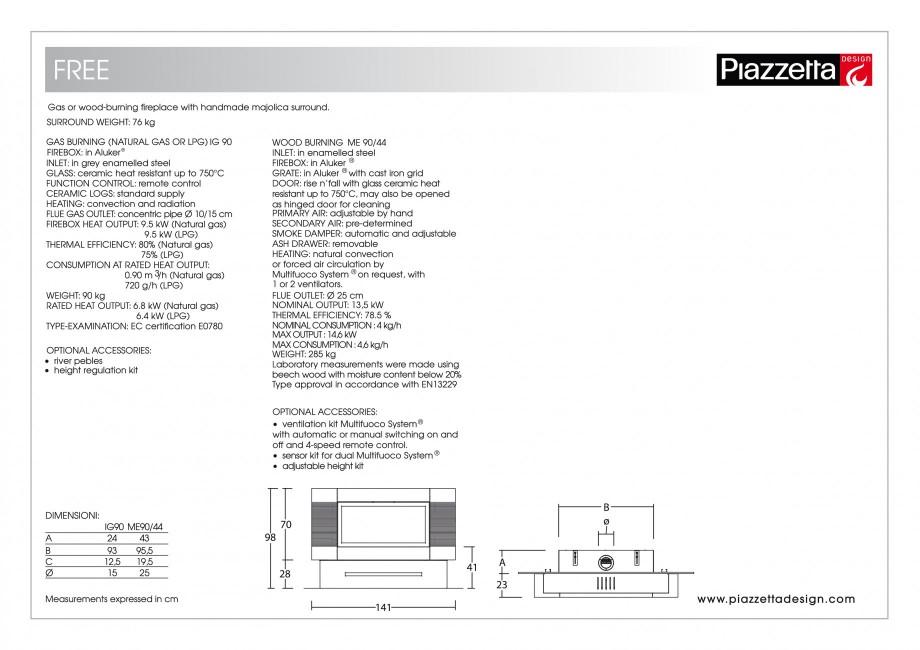 Pagina 2 - Semineu design Piazzetta Free Fisa tehnica Engleza