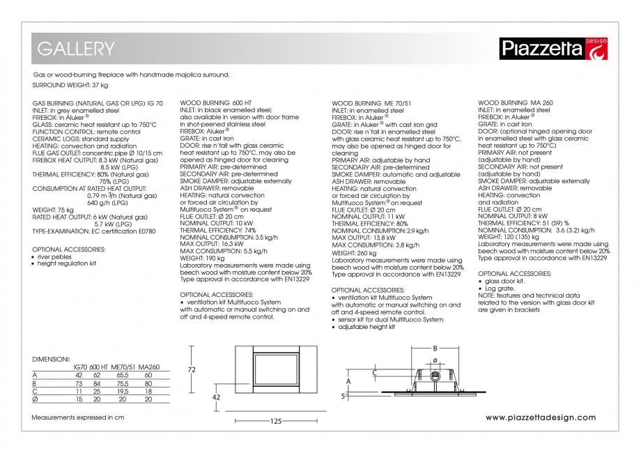 Pagina 2 - Semineu design Piazzetta Gallery Fisa tehnica Engleza