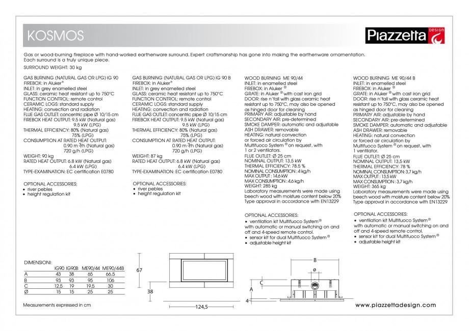 Pagina 2 - Semineu design Piazzetta  Kosmos Fisa tehnica Engleza