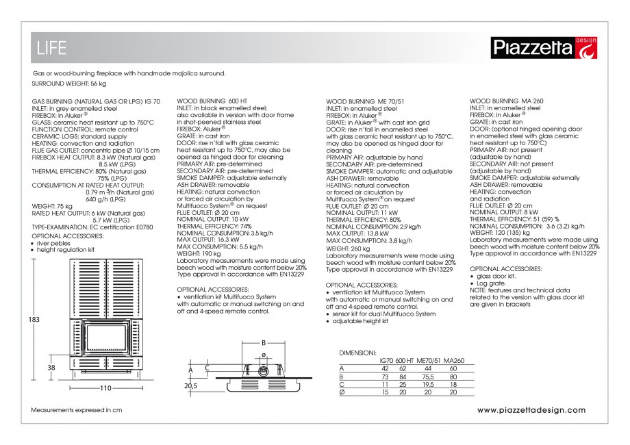 Pagina 2 - Semineu design Piazzetta Life Fisa tehnica Engleza