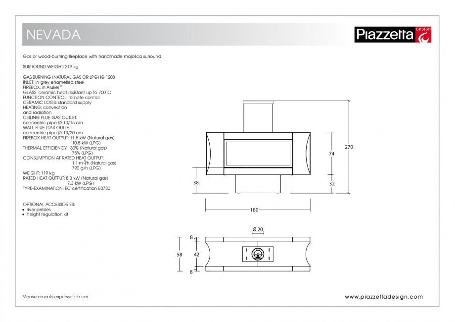 Pagina 2 - Semineu design Piazzetta Nevada Fisa tehnica Engleza