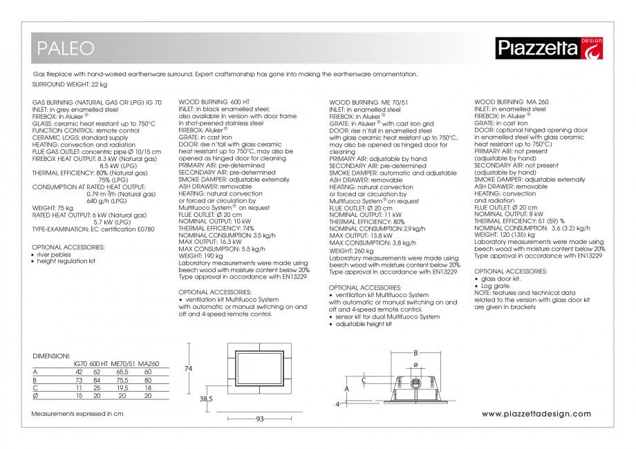 Pagina 2 - Semineu design Piazzetta Paleo Fisa tehnica Engleza NING ME 70/51 INLET: in enamelled...