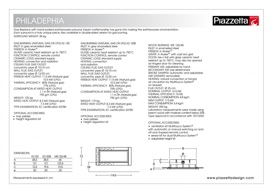 Pagina 2 - Semineu design Piazzetta Philadelphia Fisa tehnica Engleza