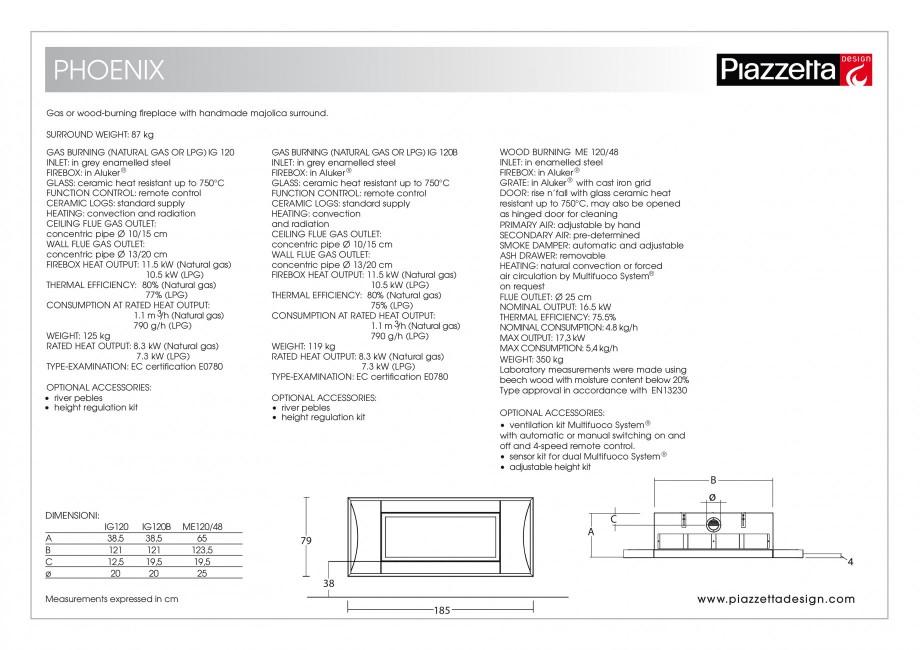 Pagina 2 - Semineu design Piazzetta Phoenix Fisa tehnica Engleza ion and radiation CEILING FLUE GAS ...