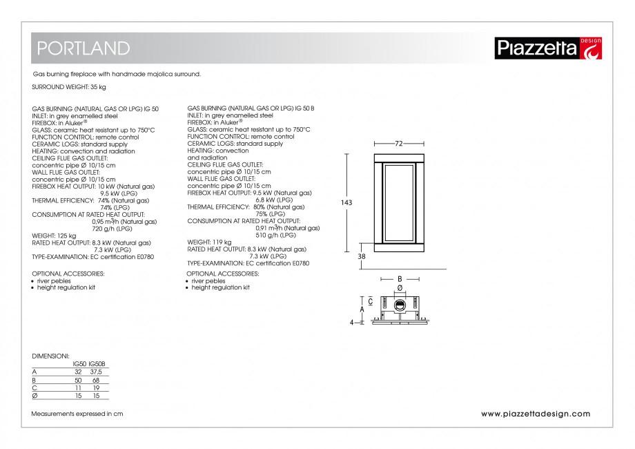 Pagina 2 - Semineu design Piazzetta Portland Fisa tehnica Engleza