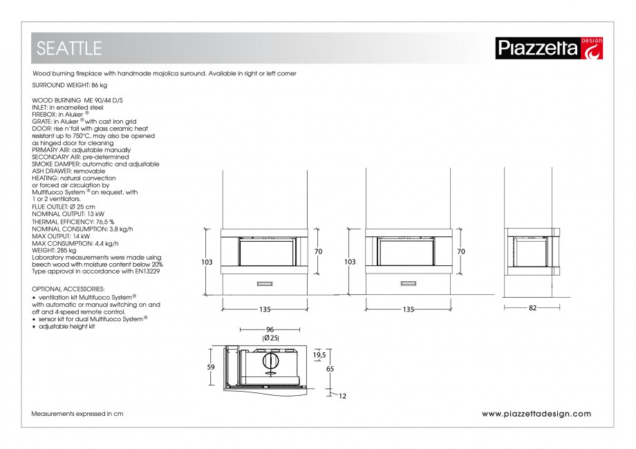 Pagina 2 - Semineu design Piazzetta Seattle Fisa tehnica Engleza