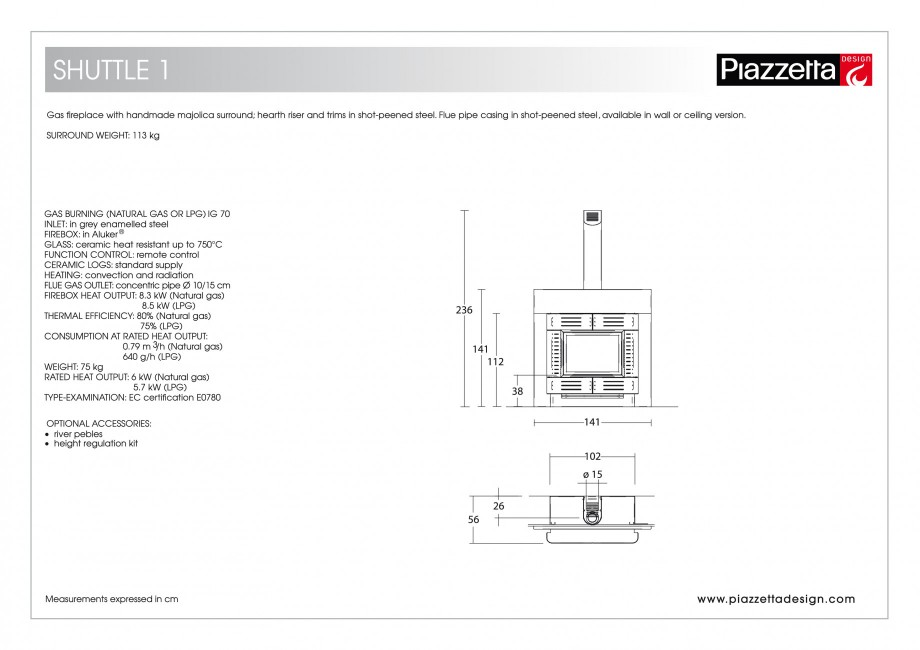 Pagina 2 - Semineu design Piazzetta Shuttle 1 Fisa tehnica Engleza