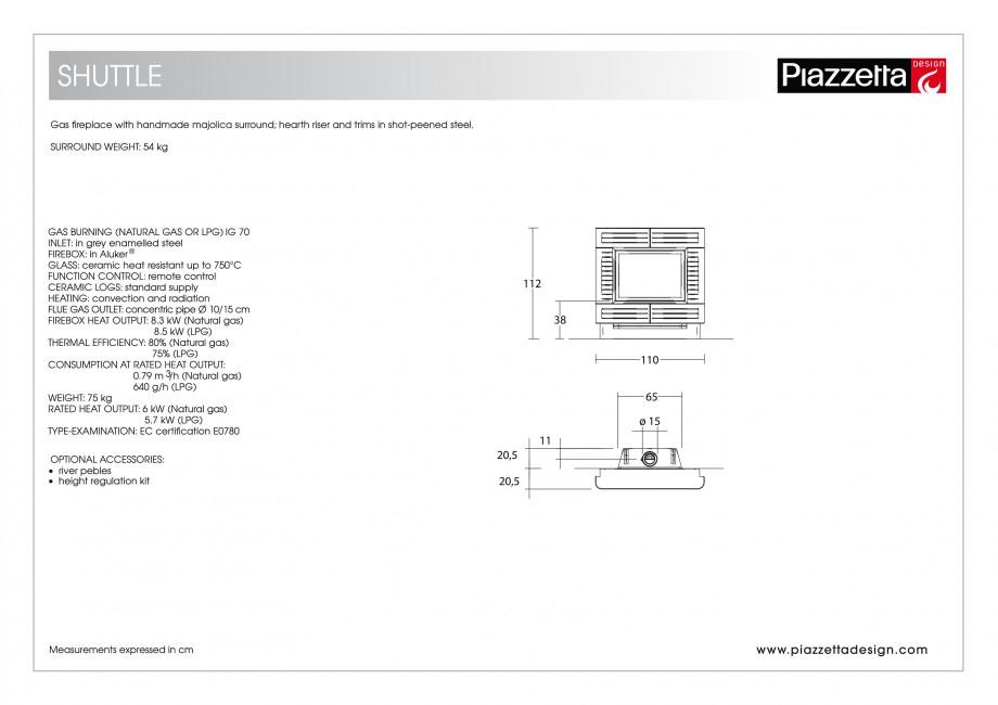Pagina 2 - Semineu design Piazzetta Shuttle Fisa tehnica Engleza