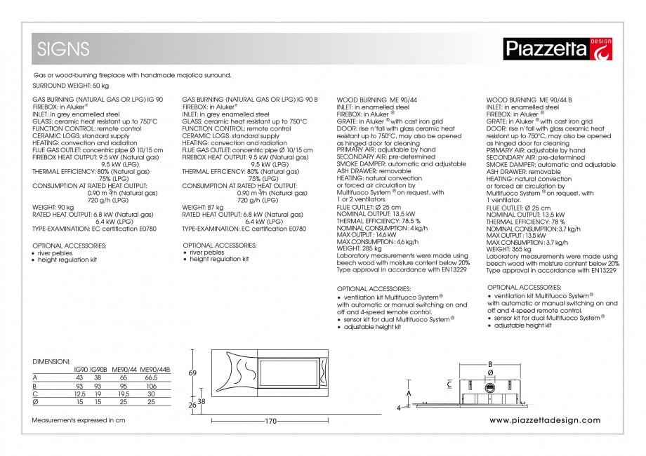 Pagina 2 - Semineu design Piazzetta Signs Fisa tehnica Engleza