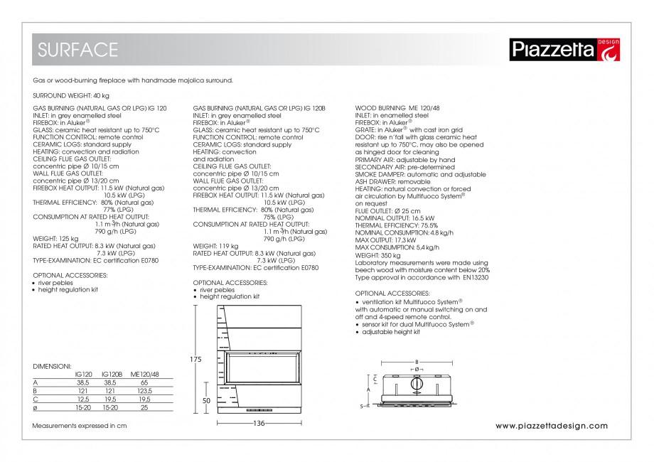 Pagina 2 - Semineu design Piazzetta Surface Fisa tehnica Engleza heat resistant up to 750°C, may...