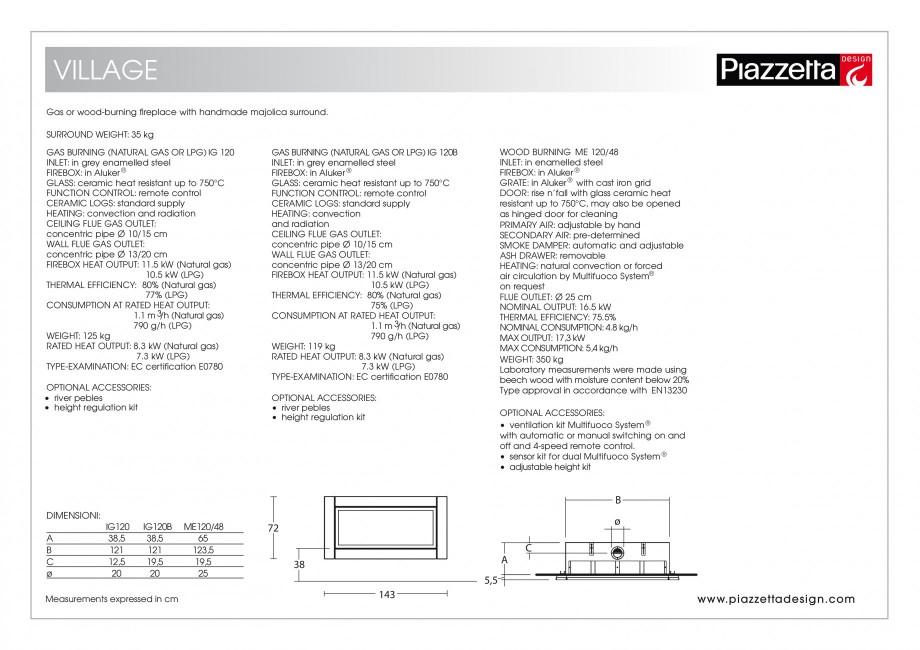 Pagina 2 - Semineu design Piazzetta Village Fisa tehnica Engleza  cleaning PRIMARY AIR: adjustable...