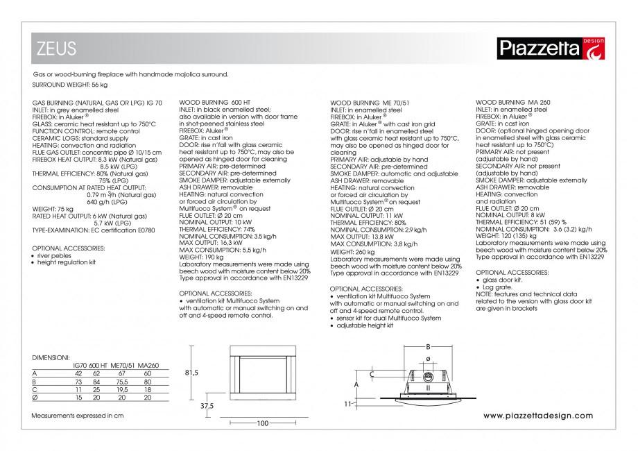 Pagina 2 - Semineu design Piazzetta Zeus Fisa tehnica Engleza