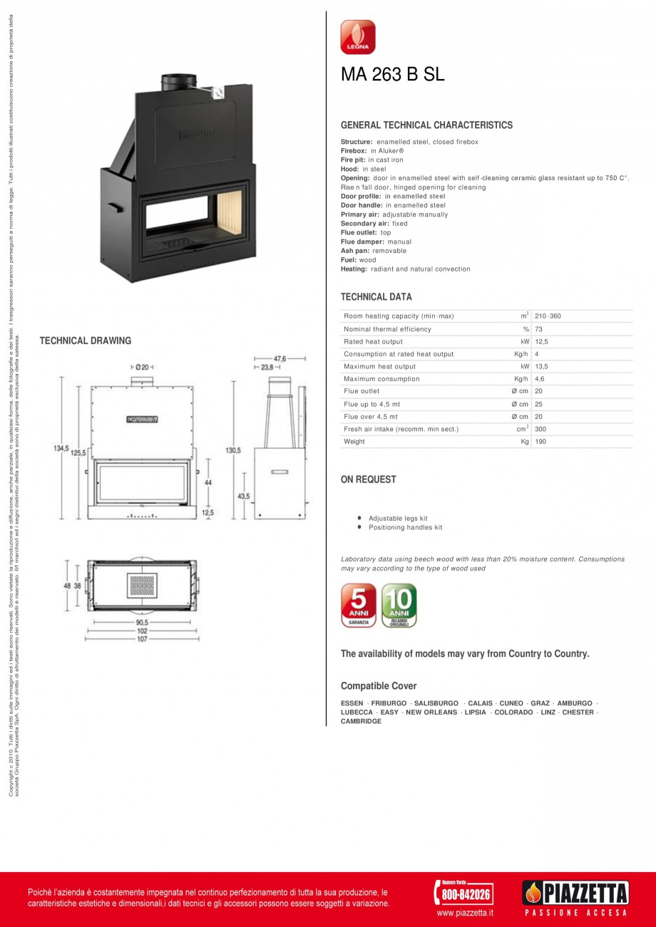 Pagina 1 - Focar  Piazzetta M 263 B SL Fisa tehnica Engleza MA 263 B SL GENERAL TECHNICAL...