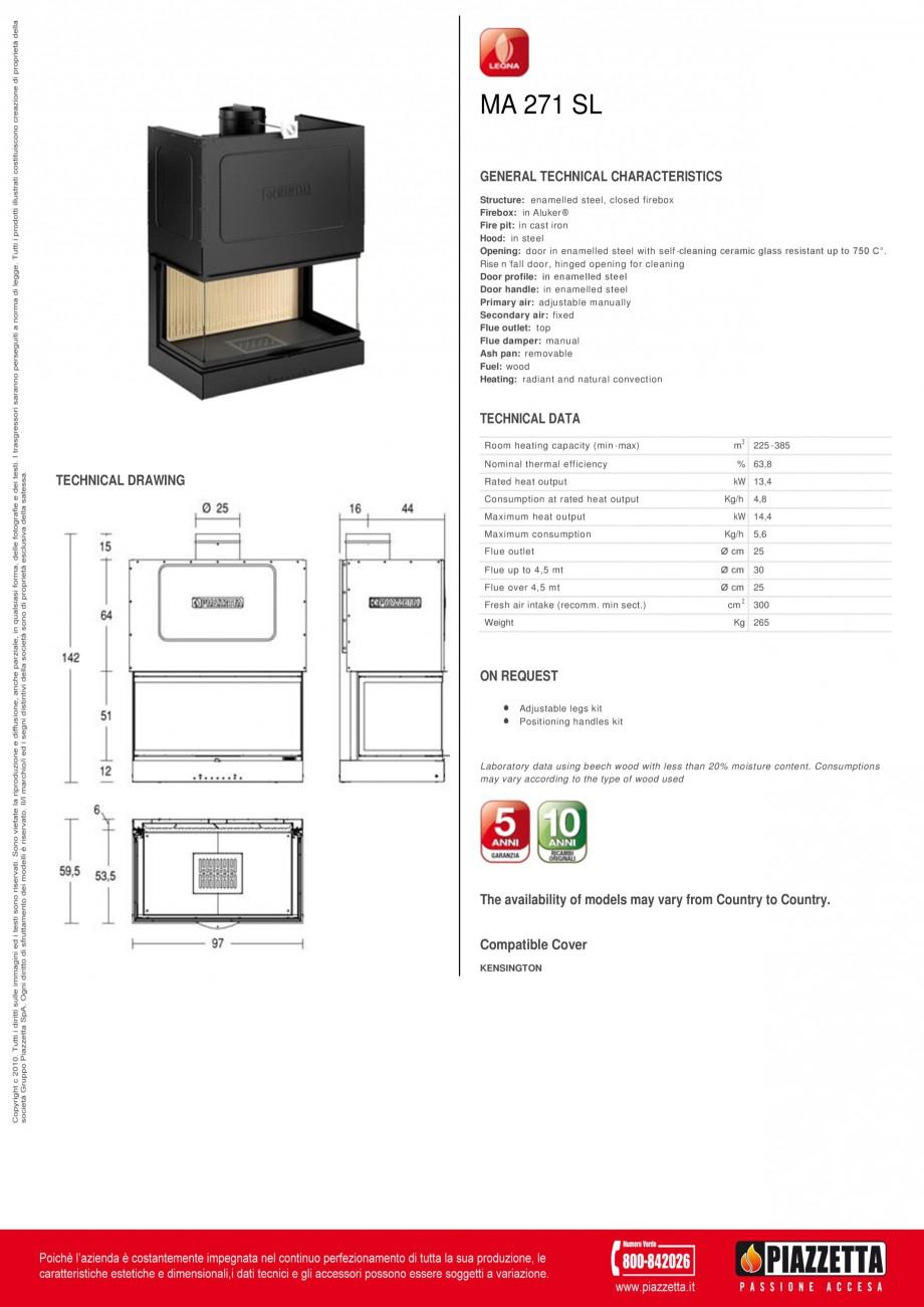 Pagina 1 - Focar Piazzetta M 271 SL Fisa tehnica Engleza MA 271 SL GENERAL TECHNICAL CHARACTERISTICS...