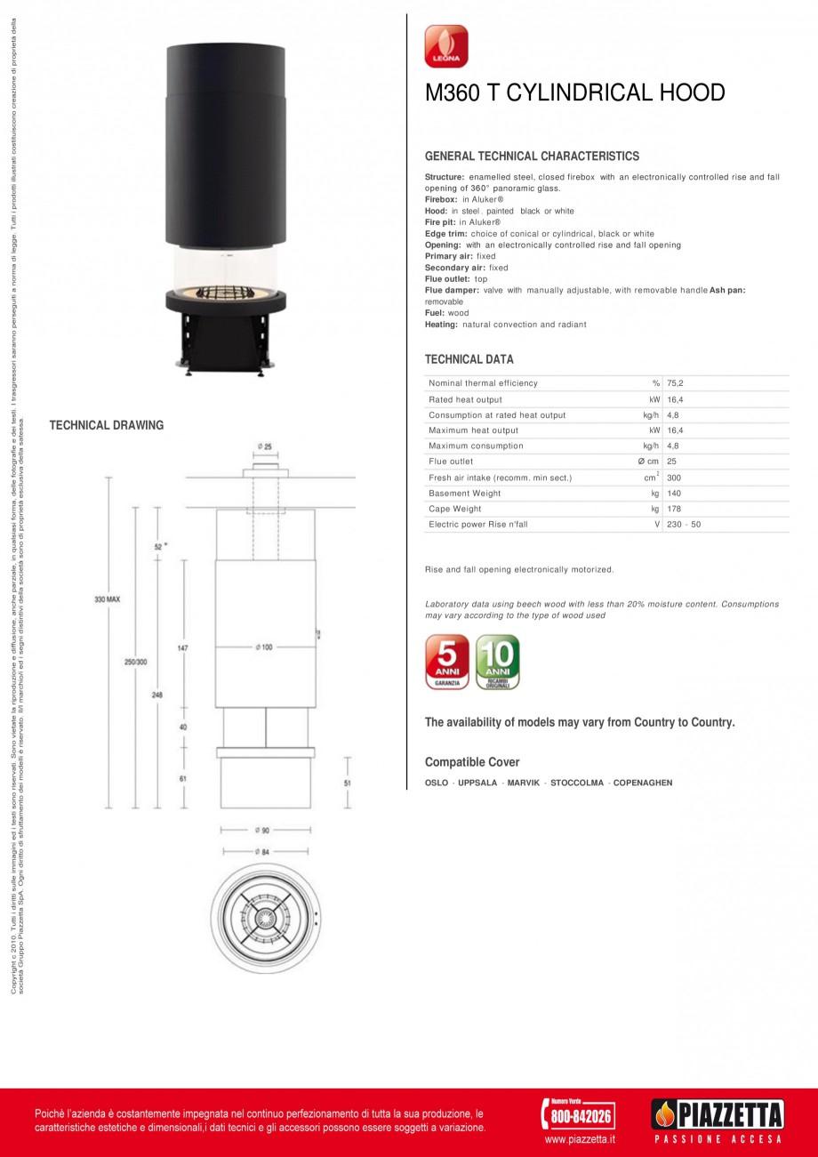 Pagina 1 - Focar Piazzetta M 360 T Capac cilindric Fisa tehnica Engleza M360 T CYLINDRICAL HOOD...