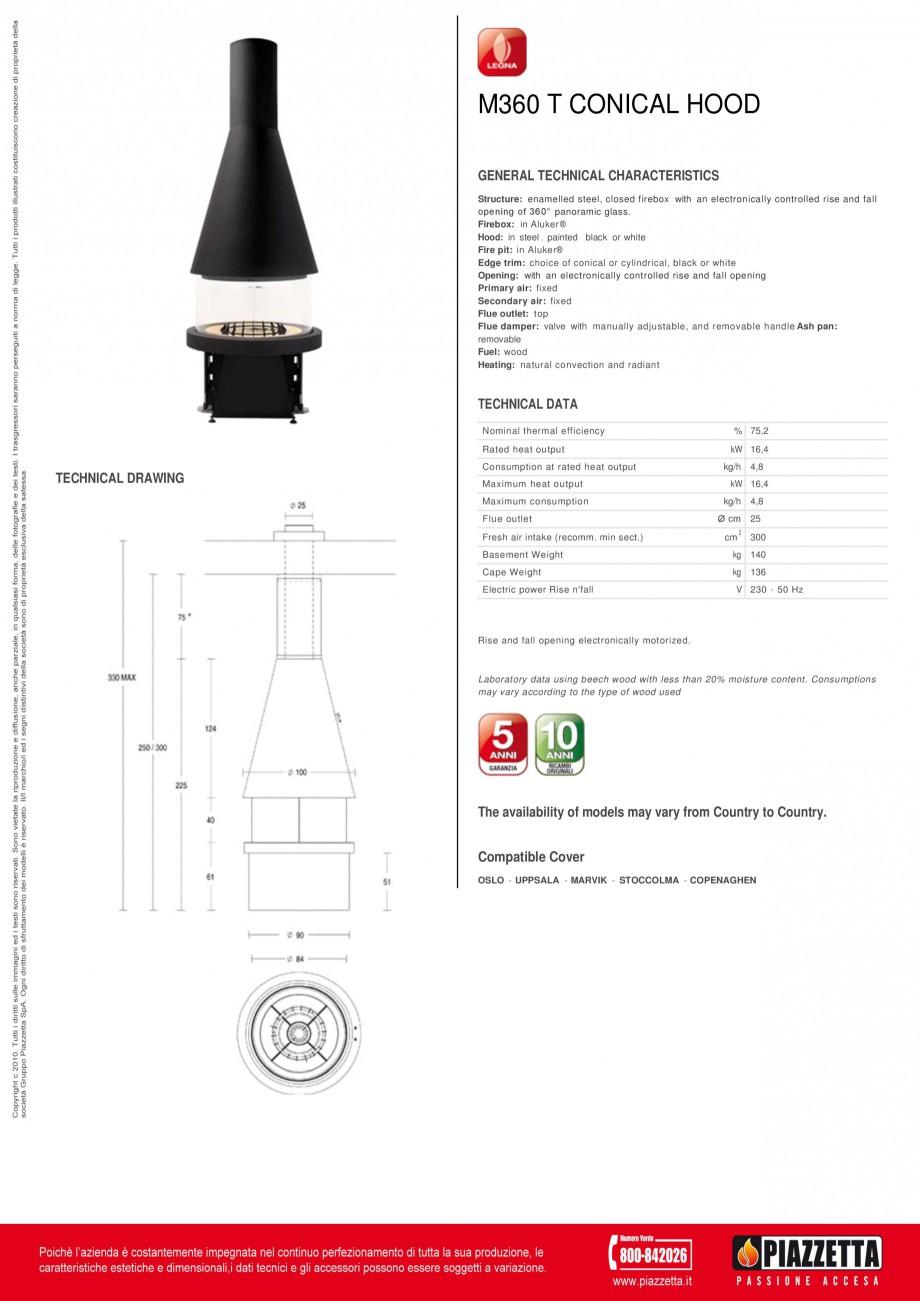 Pagina 1 - Focar Piazzetta M 360 T Fisa tehnica Engleza M360 T CONICAL HOOD GENERAL TECHNICAL...