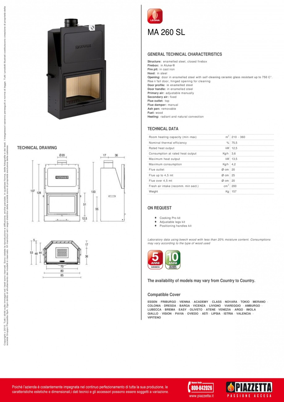 Pagina 1 - Focar  Piazzetta MA 260, MA 260 SL Fisa tehnica Engleza MA 260 SL GENERAL TECHNICAL...