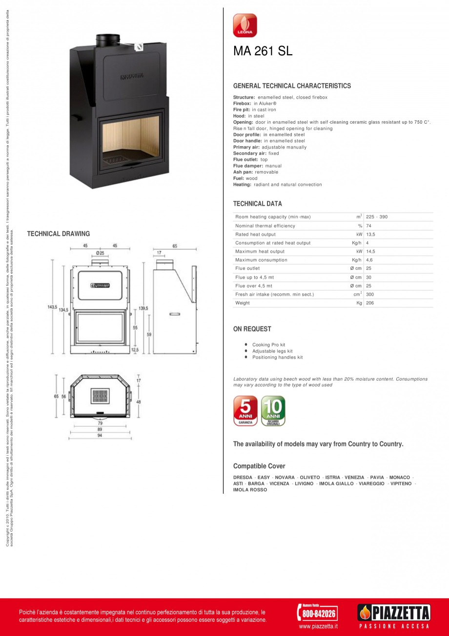 Pagina 1 - Focar Piazzetta MA 261 SL Fisa tehnica Engleza MA 261 SL GENERAL TECHNICAL...