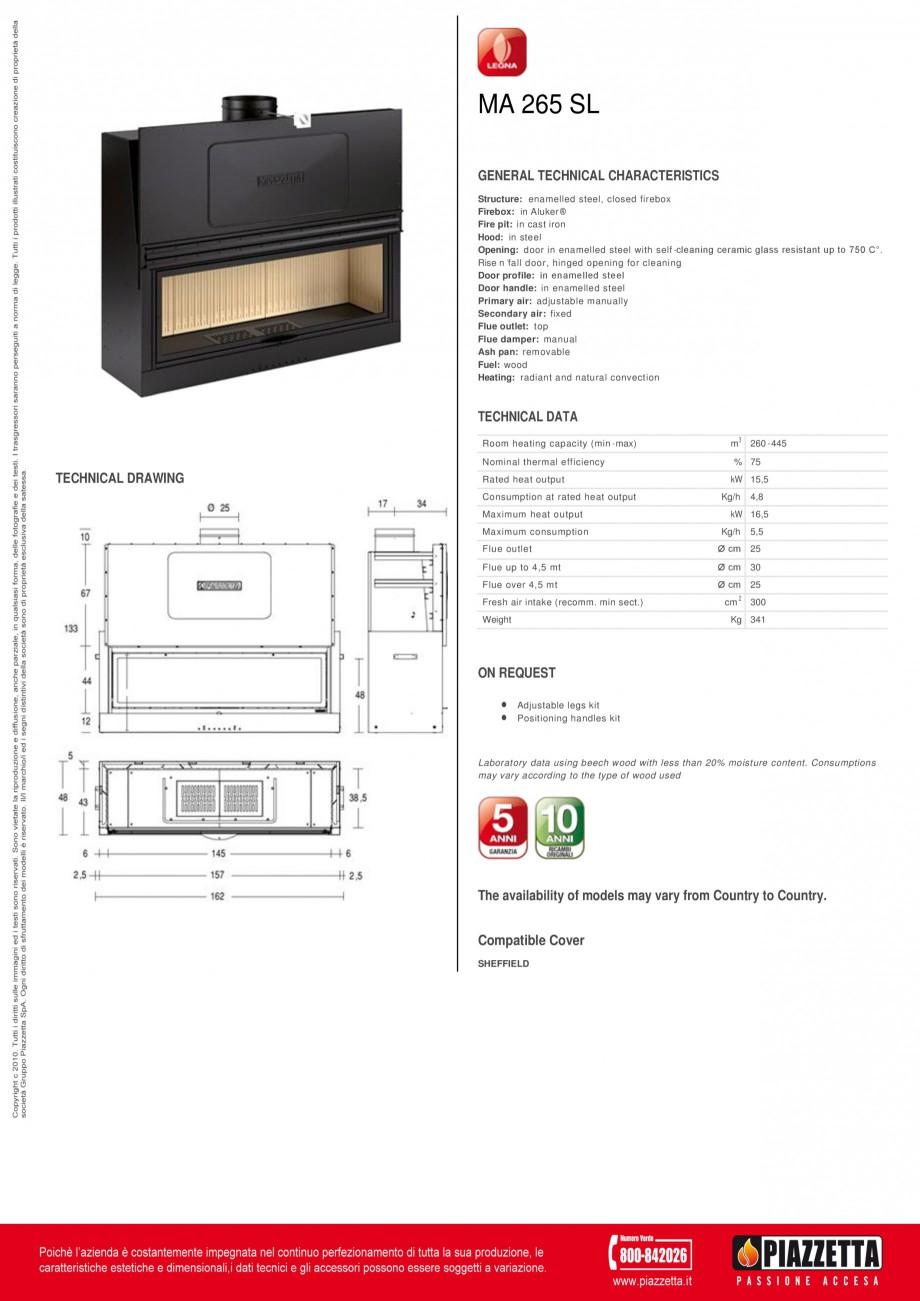 Pagina 1 - Focar Piazzetta MA 265 SL Fisa tehnica Engleza MA 265 SL GENERAL TECHNICAL...