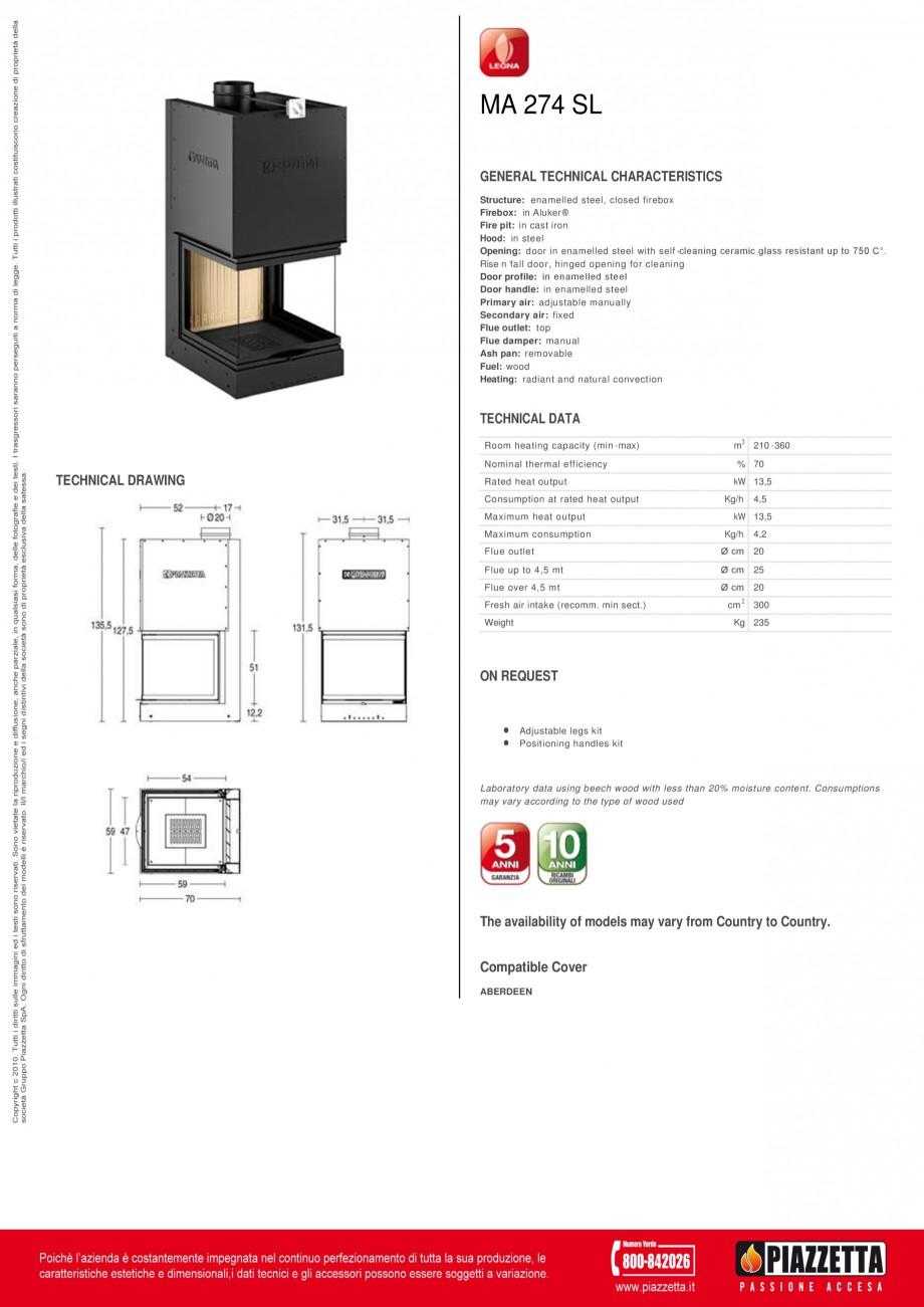 Pagina 1 - Focar Piazzetta MA 274 SL Fisa tehnica Engleza MA 274 SL GENERAL TECHNICAL...