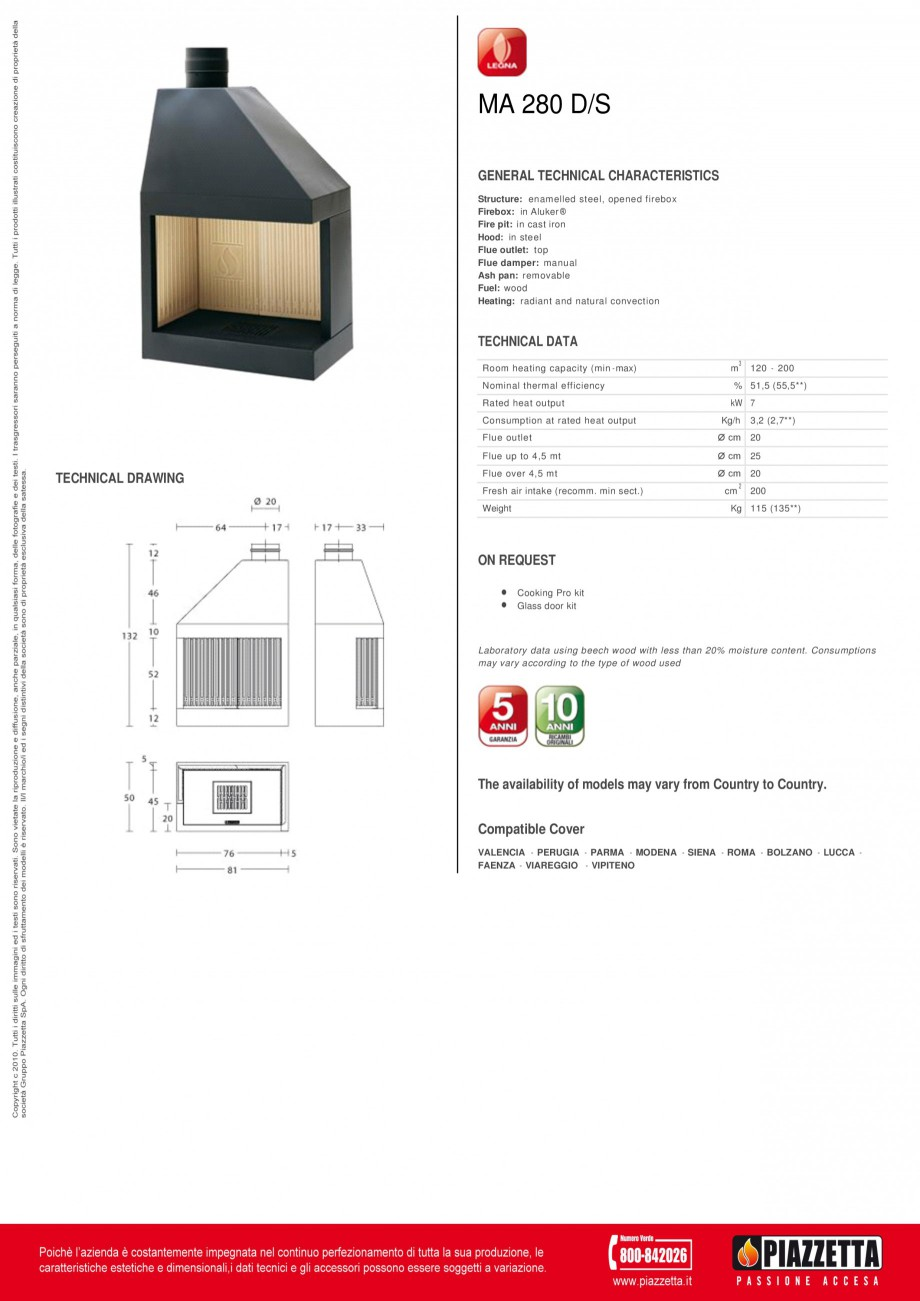 Pagina 1 - Focar Piazzetta MA 280 DS Fisa tehnica Engleza MA 280 D/S GENERAL TECHNICAL...