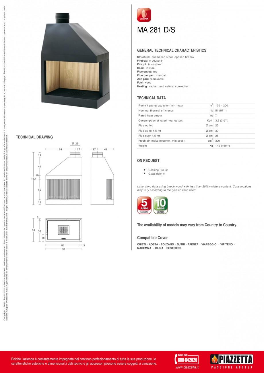 Pagina 1 - Focar Piazzetta MA 281 DS Fisa tehnica Engleza MA 281 D/S GENERAL TECHNICAL...