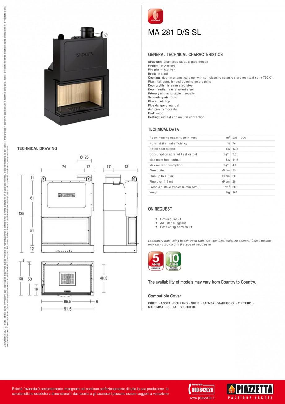 Pagina 1 - Focar  Piazzetta MA 281 DS SL Fisa tehnica Engleza MA 281 D/S SL GENERAL TECHNICAL...