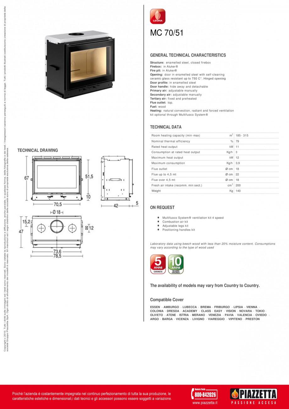 Pagina 1 - Focar Piazzetta MC 70 51 Fisa tehnica Engleza MC 70/51 GENERAL TECHNICAL CHARACTERISTICS ...