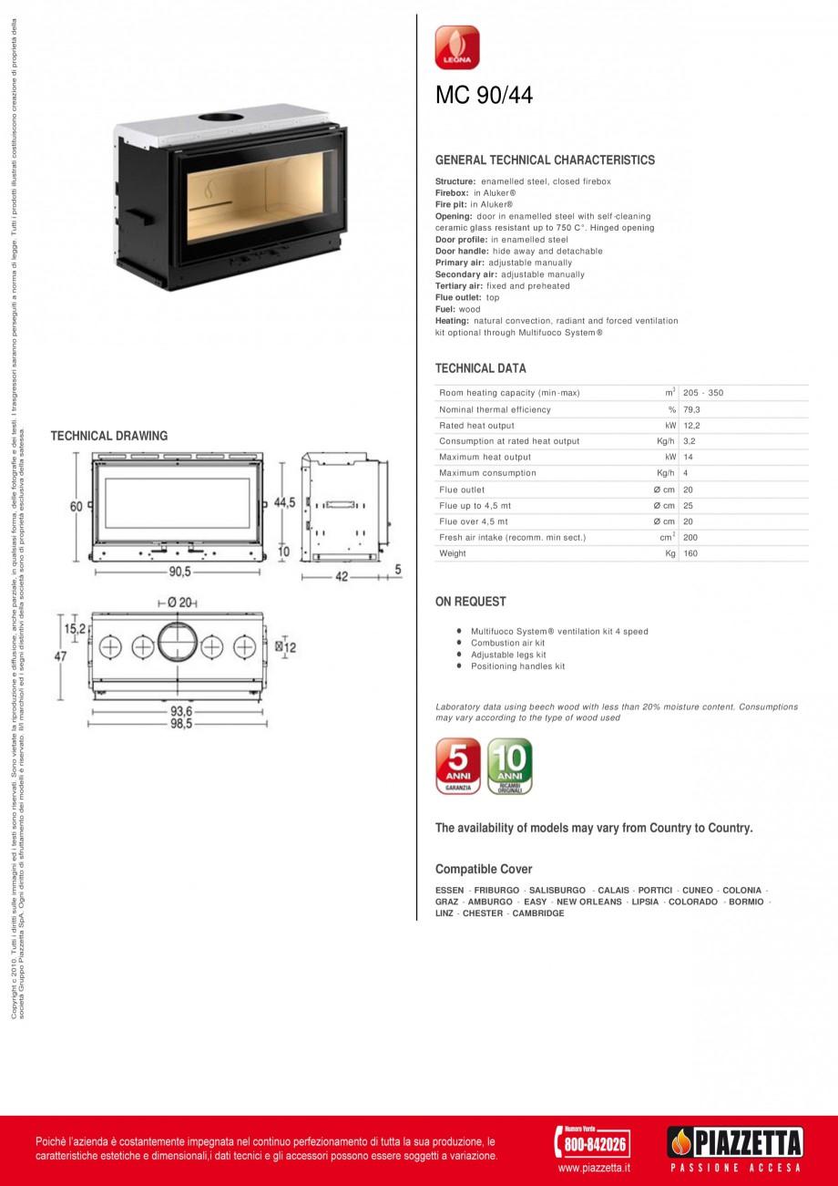 Pagina 1 - Focar Piazzetta MC 90 44 Fisa tehnica Engleza MC 90/44 GENERAL TECHNICAL CHARACTERISTICS ...